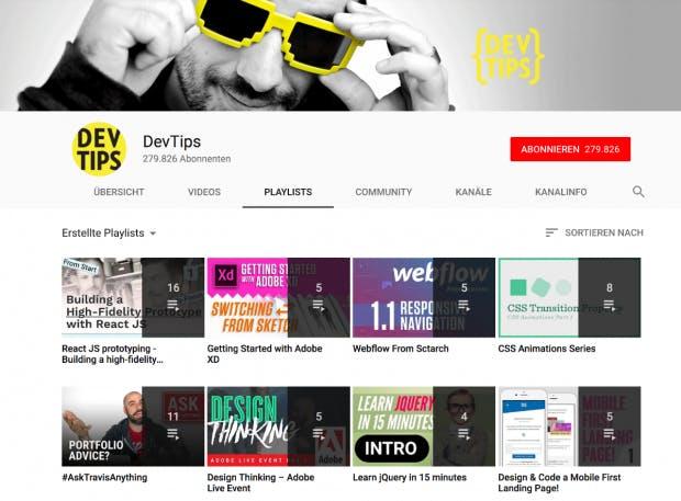 Dev-Tips hat Grundlagen-Videos über HTML und CSS, aber auch über React. (Screenshot: t3n.de)