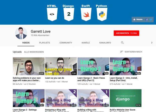 Garrett Love behandelt mit seinen Videos Themen rund um HTML, PHP und Web-Design. (Screenshot: t3n.de)