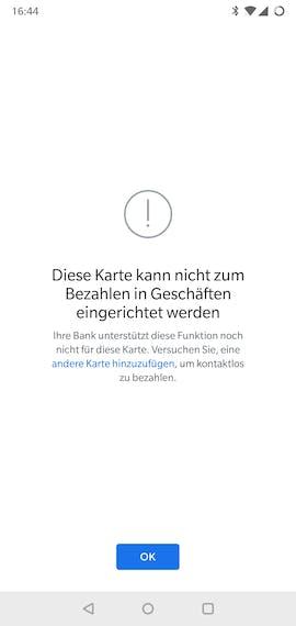Aktueller Stand der Google Pay App: Kartenkönnen noch nicht zum Bezahlen in Geschäften eingerichtet werden. (Screenshot: t3n.de)