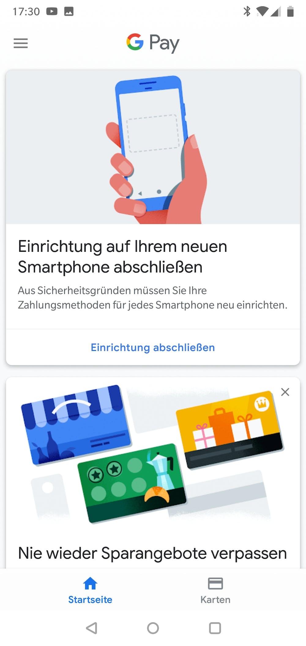 Die Startseite: Ein Blick in die Google-Pay-App. (Screenshot: t3n.de)