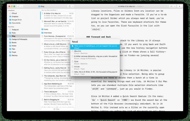 Unter der Dateiliste gibt es jetzt eine Filtermöglichkeit, damit ist die Suche nicht mehr doppelt. Über die Quick-Search-Funktion finden Nutzer ihre Dokumente im iA Writer. (Bild: iA)
