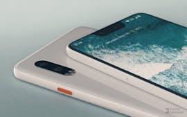 Mockup des Pixel 3 XL basierend auf dem Leak – die Rückseite hat der Designer nach eigenem Geschmack entworfen. (Bild: Phone Designer)