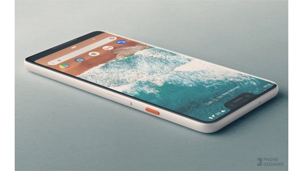 "Mockup des Pixel 3 XL basierend auf dem Leak. (Bild: <a href=""https://twitter.com/PhoneDesigner"">Phone Designer</a>)"