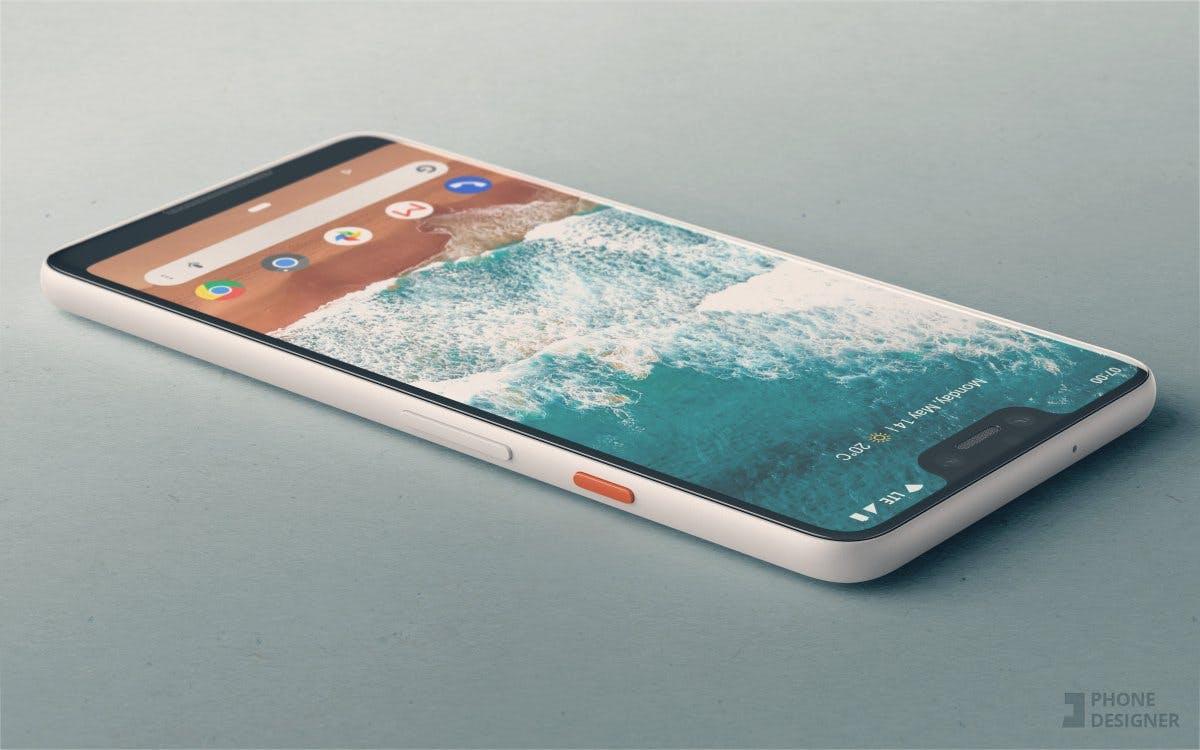 Mockup des Pixel 3 XL basierend auf dem Leak. (Bild: Phone Designer)