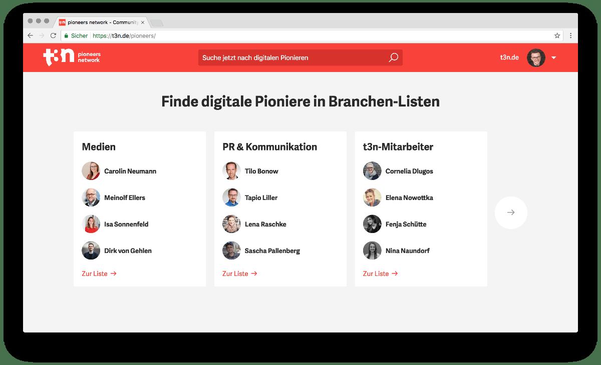 Über kuratierte Listen findest du spannende Pioniere im Netzwerk.