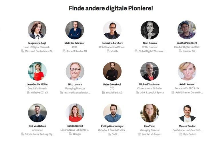 Zum Start des Pioneers Network sind zahlreiche bekannte Köpfe der Digital-Szene dabei.