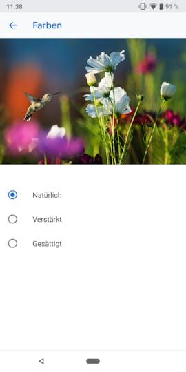 Android 9.0 mit überarbeiteten Farbeinstellungen. (Screenshot: t3n.de)