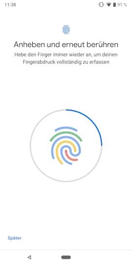 Android 9.0 bringt mehr Farbe in die Fingerabdruck-Erkennung. (Screenshot: t3n.de)