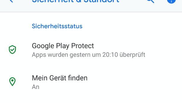 Unter Sicherheit und Standort zeigen Icons in Android 9.0 den Sicherheitsstatus an. (Screenshot: t3n.de)