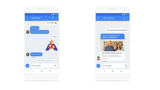 Smart-Reply und eine URL-Vorschau sind weitere Neuerungen von Android Messages. (Bild: Google)