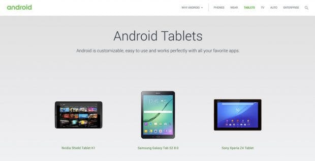 """Zuletzt waren in der Android-Tablet-Übersicht veraltete Geräte aufgelistet. (Screenshot: <a href=""""https://web.archive.org/web/20180531184255/http://www.android.com/tablets/"""">Archive.org</a>"""