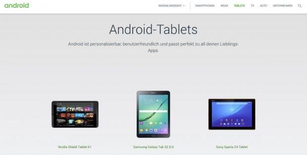 Auf Android.com sind die Android-Tablets wieder vorhanden – neue Modelle sind dort jedoch nicht zu finden. (Screenshot: t3n.de)
