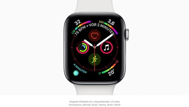 Apple Watch Series 4: Mehr Platz für Komplikationen. Screenshot: Apple)