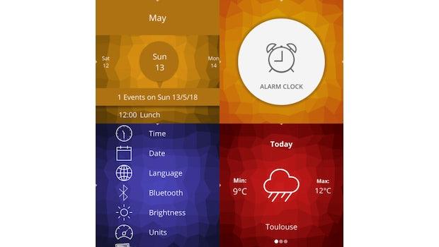 Die Kalender-, Wecker- und Wetter-App sowie die Einstellungen. (Screenshots: AsteroidOS)