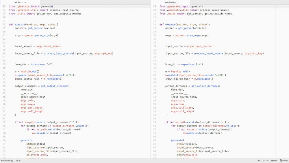In Atom lässt sich die Oberfläche in jede Richtung, auch horizontal, teilen und kann so mehrere Dateien anzeigen. (Screenshot: t3n.de)
