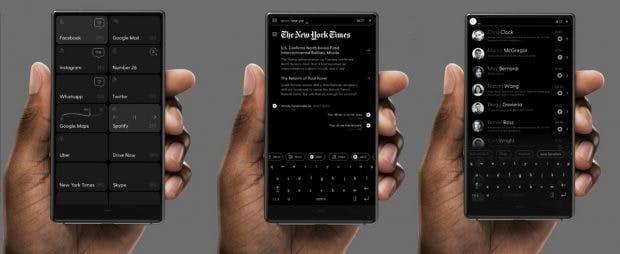 Ein Blick auf die monochromatische Nutzeroberfläche des Blloc-Smartphones. (Bild: Blloc)