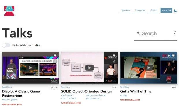 Awesome Talks versammelt Entwicklervorträge von verschiedenen Konferenzen. (Screenshot: awesometalks.party)