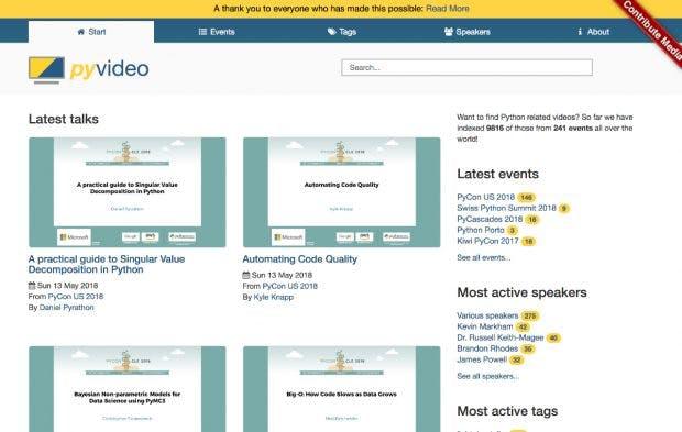 Pyvideo beitet fast 10.000 Vorträge zum Thema Pythin. (Screenshot: pyvideo.org)