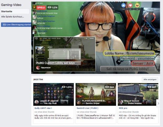 Facebook startet zentrale Anlaufstelle für Gaming-Streams. (Screenshot: facebook.com)