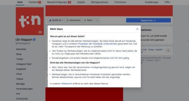 Facebook zeigt euch alle Anzeigen von Seitenbetreibern an. (Screenshot: facebook.com)