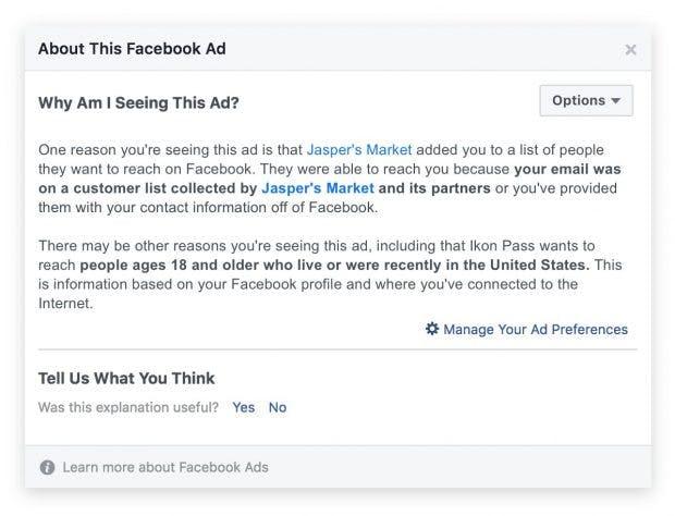 Facebook informiert Nutzer zukünftig über die Herkunft von Custom Audiences. (Screenshot: Facebook)