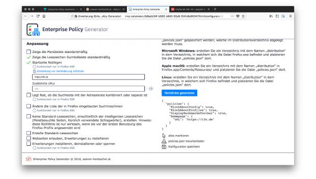 Mit einem Klick können Administratoren die JSON-Datei generieren oder eine bestehende laden und aktualisieren. (Screenshot: Firefox)