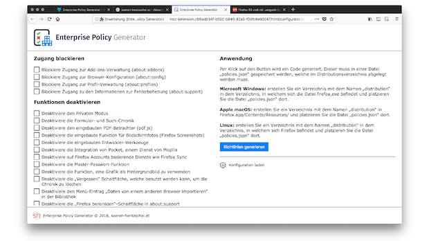Firefox-Erweiterung vereinfacht Unternehmenskonfiguration