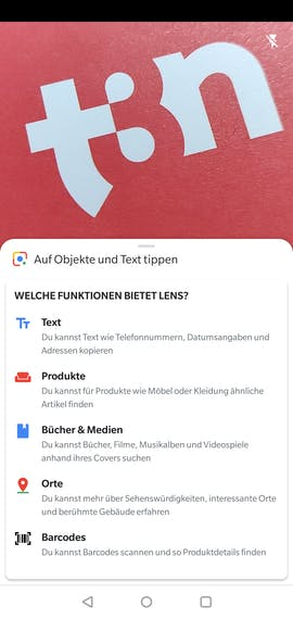 Google-Lens-Funktionen im Überblick. (Screenshot: t3n.de)