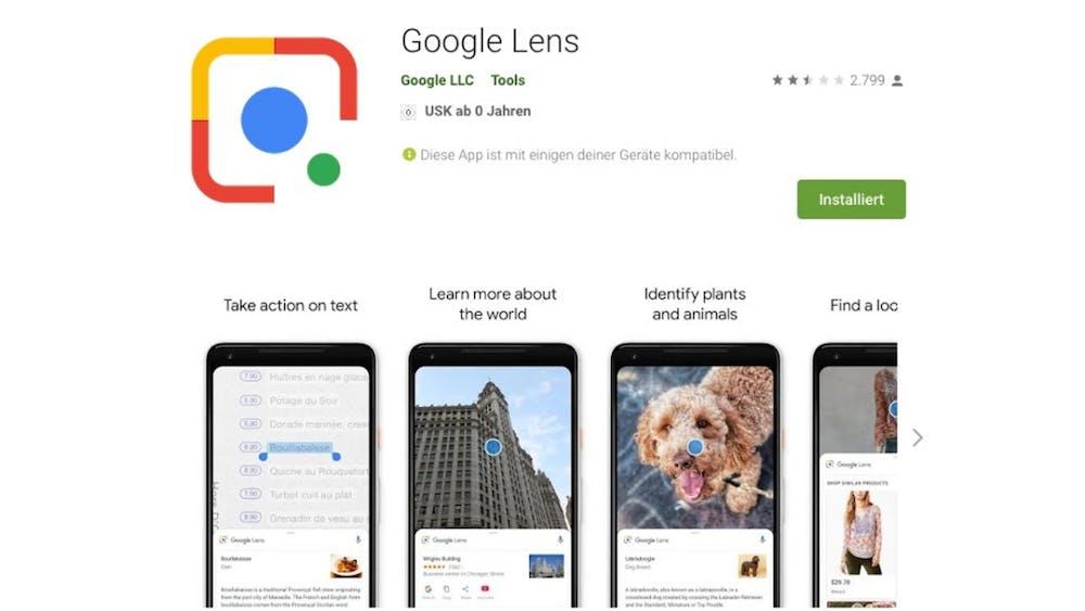 Die Google-Lens wird als separate App im Play-Store angeboten. (Screenshot: Google)