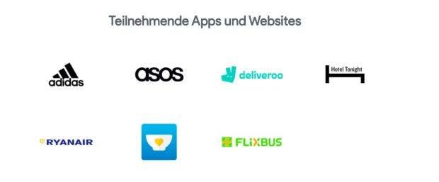 Diese Websites und Apps unterstützen Google Pay. (Screenshot: Google)
