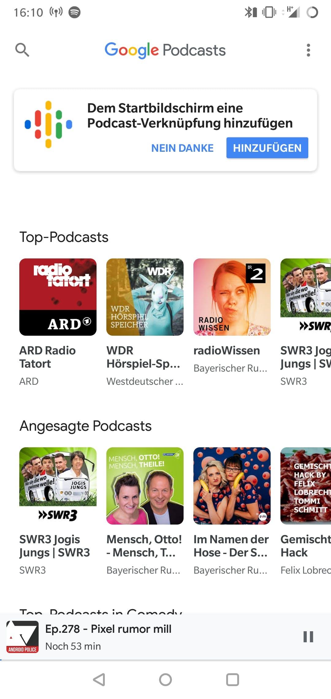 Google-Podcast-App – ein Blick in die Web-App. (Screenshot: t3n.de)