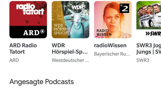 Google-Podcast-App – ein Blick in die Web-App. (Screenshot: t3n.de)