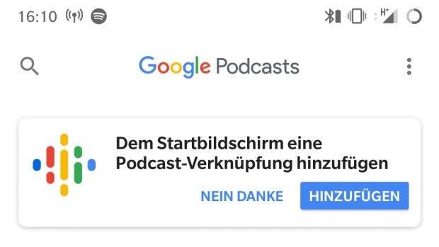 Damit ihr auch ohne App an Googles Podcast-Dienst gelangt, gibt es ein Icon für den Homescreen. (Screenshot: t3n.de)