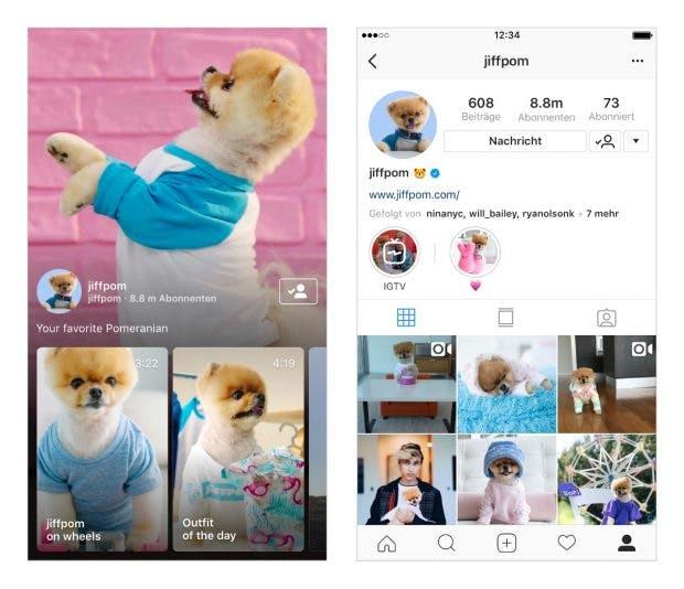 Ansicht eines IGTV-Channel und im Instagram-Profil