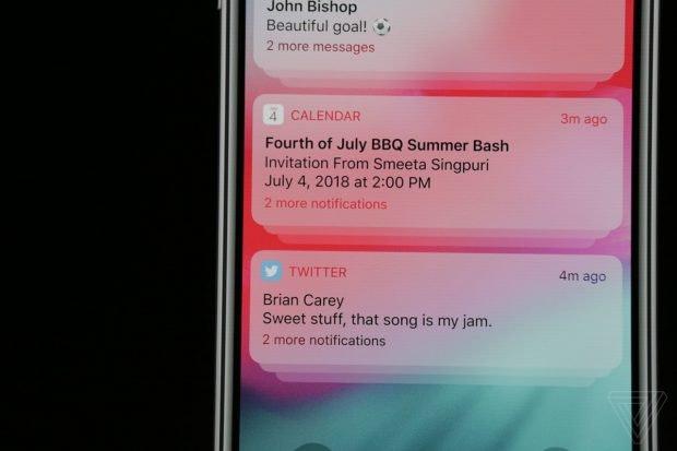 Lange hat es gedauert: Mit iOS 12 kommen endlich gruppierte Benachrichtigungen. (Screenshot: The Verge)