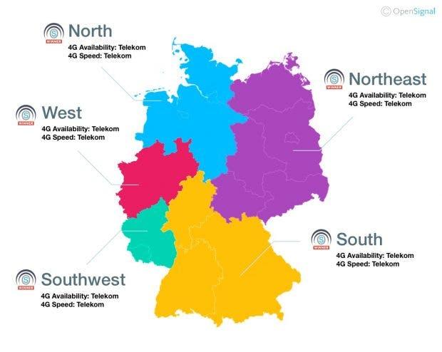 Open Signal kürt die Deutsche Telekom zum LTE-Netzsieger in Deutschland. (Grafik: Open Signal)