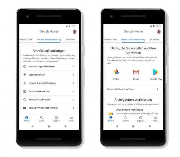 Neues Google-Konto: Aktivitätseinstellungen