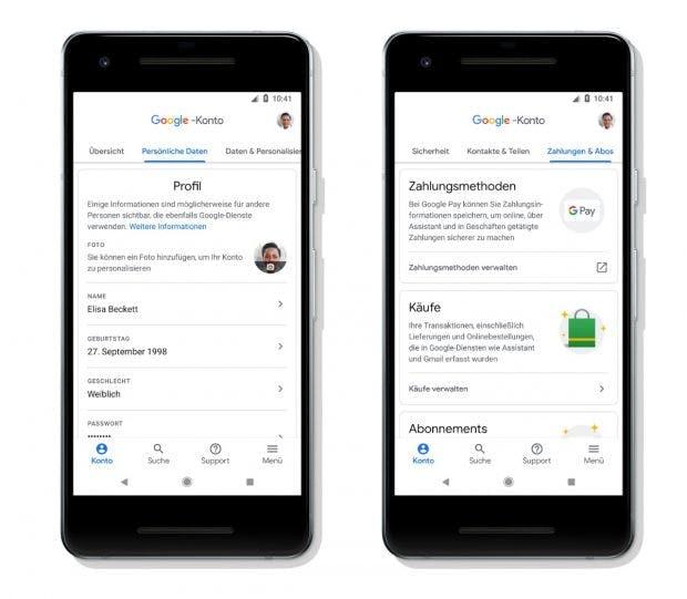 Das neue Google-Konto hat eine vertikale Tab-Navigation
