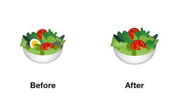 Neuerung in Android 9.0: Der Salat ist eifrei. (Bild: Emojipedia)