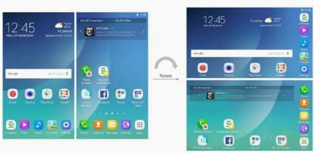 Ein früheres Samsung-Patent zeigt, wie die Benutzeroberfläche eines faltbaren Smartphones aussehen könnte. (Bild: Galaxy Club)