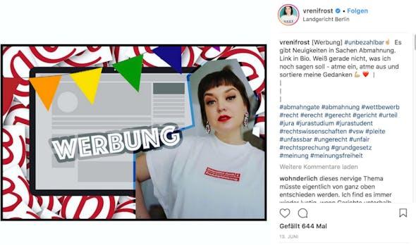 """""""Absurdes"""" Instagram-Urteil gegen Vreni Frost? So einfach ist das nicht!"""