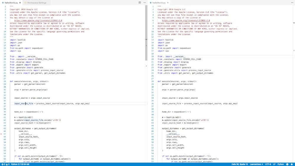 Auch VS-Code kann die Oberfläche teilen. Über einen Button in der oberen rechten Ecke, kann die Oberfläche jedoch nur vertikal geteilt werden. (Screenshot: t3n.de)