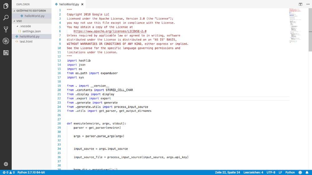 Während bei Atom mittels der Tastenkombination nur der Code vergrößert wird, wird bei VS-Code jede Schrift und teilweise Elemente mit vergrößert. Um nur den Code zu vergrößern, muss der Umweg über die Einstellungen genommen werden. (Screenshot: t3n.de)