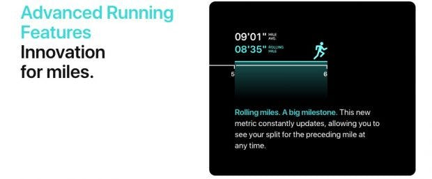 Die Apple Watch erhält mit watchOS 5 erweiterte Lauffunktionen. (Screenshot: Apple)