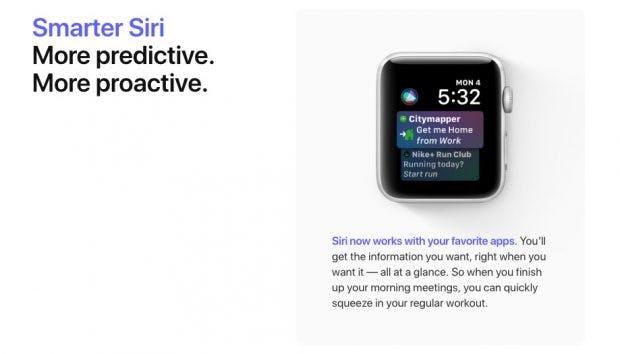 Siri erhält mit watchos 5 auch auf der Apple Watch neue Funktionen. (Screenshot: Apple)