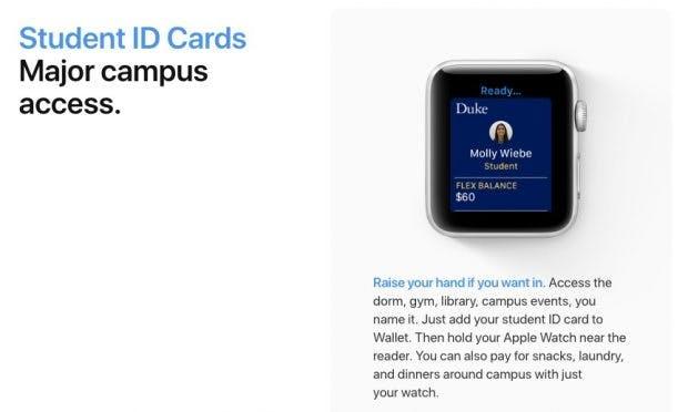 Die Apple Watch kann in den USA Studentenausweise ersetzen. (Screenshot: Apple)