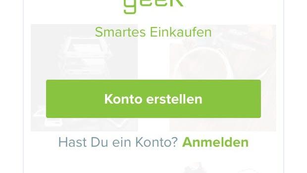 Die Geek-App von Wish im Überblick. Schritt 1: Anmeldung, auch via Facebook und Google. Muss in jeder Wish-App wiederholt werden. (Screenshot: Wish.com)