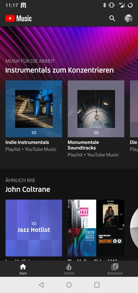 Youtube-Music-App für Android. (Screenshot: t3n.de)