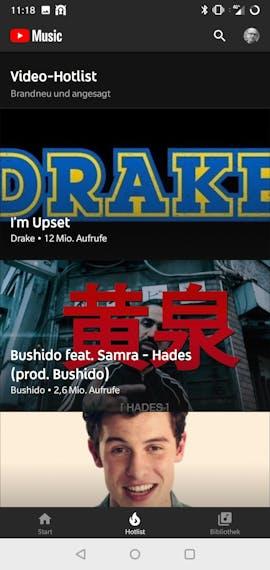 Youtube-Music-App für Android: die Rubrik Hotlist zeigt aktuelle Videoclips. (Screenshot: t3n.de)