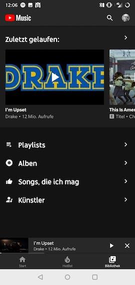 Youtube-Music-App für Android: Zuletzt gespielte Titel. (Screenshot: t3n.de)Youtube-Music-App für Android: Zuletzt gespielte Titel. (Screenshot: t3n.de)